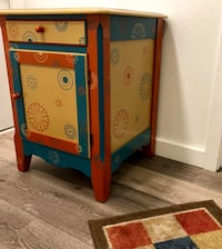 Eclectic side table with drawer