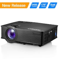 """Projector, PHONECT 2400 LUX 4Inch Mini Projector with 170"""" Display Portable LED Video Projector Support Full HD 1080P Home Theater Movie Projector Work with Amazon Fire Stick HDMI USB SD Card VGA AV New York"""