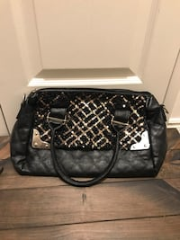 quilted gray and black leather shoulder bag