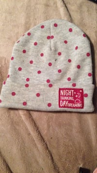 Gray and red night thinking day dreaming polka-dot knit cap Kitchener, N2K 1C4