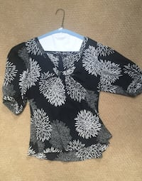 Black and white floral blouse size medium