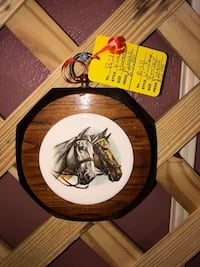 Vintage Wooden/Tile Horse Plaque.