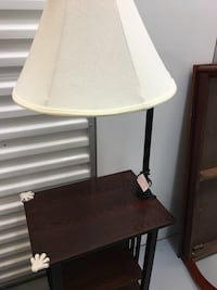 Rectangular dark brown wooden table floor lamp with white lampshade