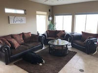 Brown leather/fabric sofa set with rug. (Table not included) Henderson, 89044