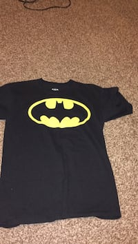 yellow and black Batman print crew-neck T-shirt