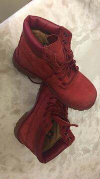 pair of ruby red  Timberland Boys size 2