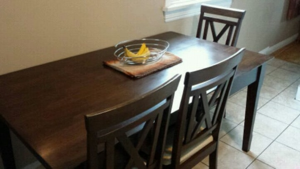 Dark Wood Table and Four Chairs