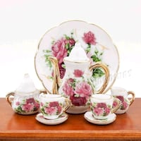 white and pink floral ceramic tea set Edmonton, T6X