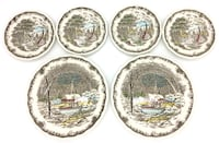 Ironstone Kensington England Dinnerware Plates Shakespeare's Sonnets Hand Anne Hathaway's Cottage Engraving Decorated Underglaze Burford