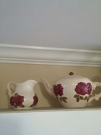 two white, red, and brown ceramic pitcher and teapot Delta, V4C 1X9