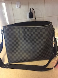 Women's black red blue and white Checkered Louis Vuitton Tote Bag