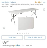 Last chance! Rectangular White Folding Table $45