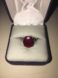 10K White Gold 5CT Ruby & 1/2CT Diamond Ring Size 7 Fairland, 46126