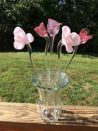 5 Pink Art Glass Roses South Kingstown, 02879