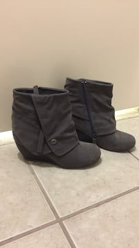 Pair of women's gray suede side-zip round-toe wedge fold-over booties Lakeway, 78734