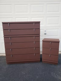 Solid Wood 6 Drawer Tallboy Dresser With Nightstand Brown With Silver Handles  Manassas, 20112