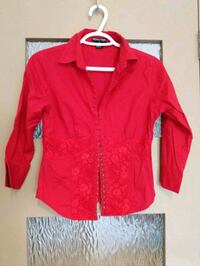 Red blouse with some lace size small Calgary, T2E 0B4