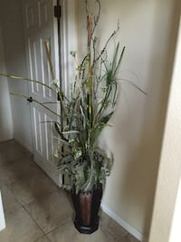 Artificial Papyrus Plant with Leather & Wood Pot Henderson
