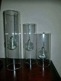 3 Clear glass oil candles 16 mi