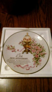 White and pink Floral Ceramic Plate  148 mi