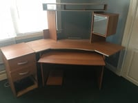 brown wooden sectional desk with hutch 391 mi