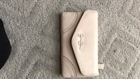 white leather long wallet