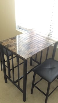 Faux Marble Table With Two Stools Silver Spring, 20910