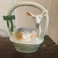 Vintage Lusterware Deer In A Basket. Brazil #1907