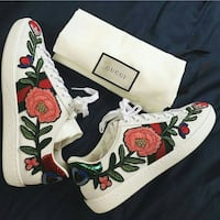 white-red-and-blue Gucci leather low-top sneakers