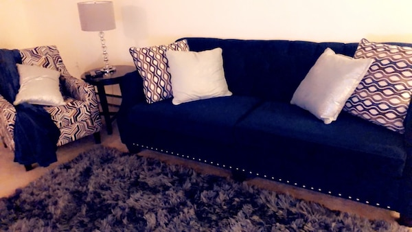 Used Blue Velvet Fabric 2 Seat Sofa And Accent Chair With Pillows