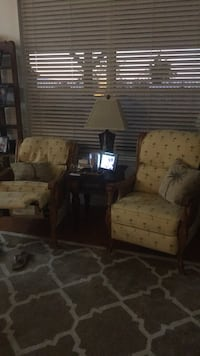 two brown wooden framed white padded armchairs Palmdale, 93551