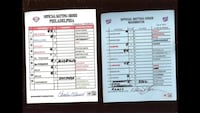 MLB signed line up cards Oakton, 22124