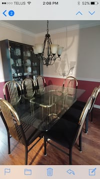 Dinette set: 8 chairs, table and glass hutch Langley, V1M 0C8