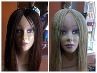 two brown and beige wig collage