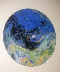 Blue, green, and yellow abstract painting on vinyl record handmade  Granite City, 62040