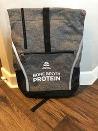 gray and black Bone Broth Protein backpack
