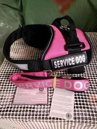 NEW  Pink Service Dog Vest with leash, reflective  Small fits 10-30 #s Toms River, 08755