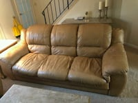 brown leather 3-seat sofa Stamford