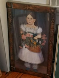 Primitive style copper framed girl print Cumberland, 02864