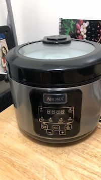 gray and black Aroma slow cooker