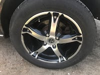 chrome 5-spoke car wheel with tire Mirabel