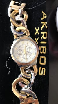 round gold-colored chronograph watch with link bracelet Clarksburg, 20871