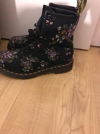 Black and pink floral print dr martens