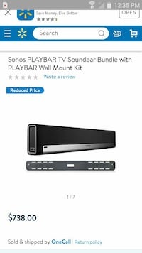 black Sonos playbar TV soundbar bundle with playbar wall mount kit screenshot