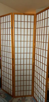 Brown and white wooden 3-panel room divider Toronto, M8V 1B7