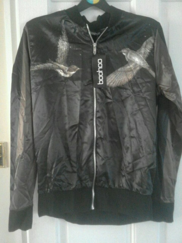 fd957b97397 Used NEW WITH TAGS-- Bird Print Satin Bomber Jacket for sale in Holmewood -  letgo