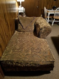brown paisley printed suede chaise