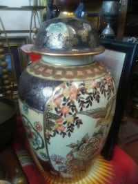 white, blue, and brown ceramic jar with lid Montréal, H8S 4G3