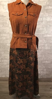 2 pc brown denim vest, floral maxi skirt PSmall York, 17402