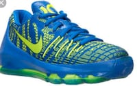 blue-and-green Nike running shoes St. Louis, 63136